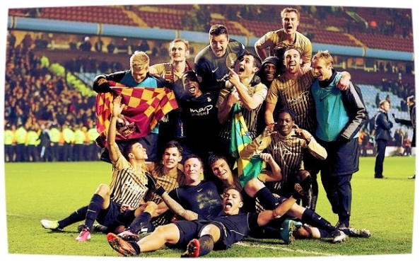 The Bradford team pose for the cameras after victory over Aston Villa