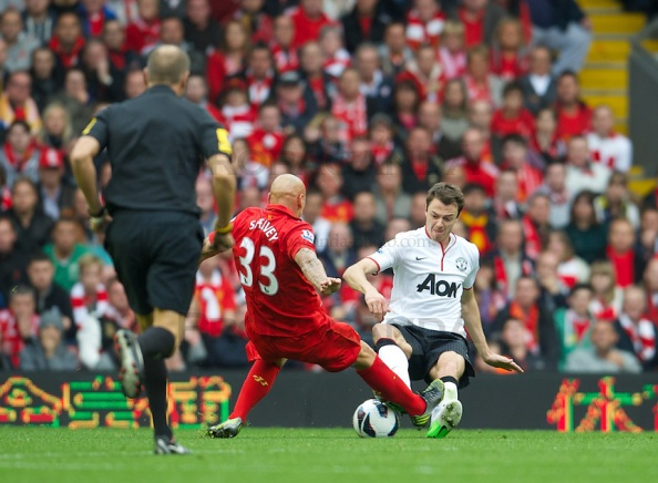 Jonjo Shelvey's 50/50 tackle with Jonny Evans which resulted in a red card for the Liverpool man