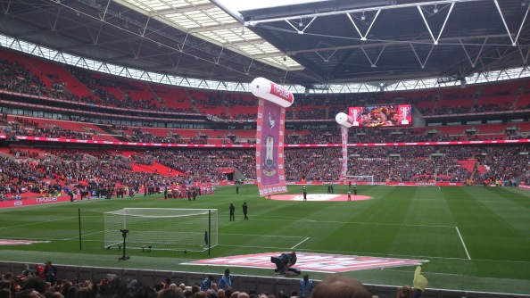 The teams line up at Wembley before the League Two Play-Off final kicks off
