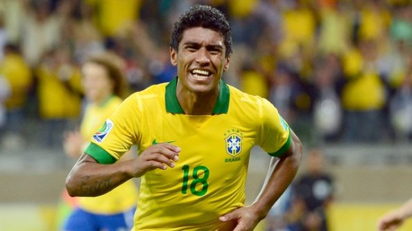 Paulinho celebrates his goal against England in the friendly earlier this year