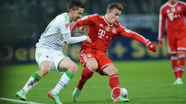 Shaqiri in action against Borussia Monchengladbach