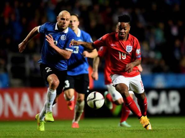 Sterling in action for the Three Lions against Estonia