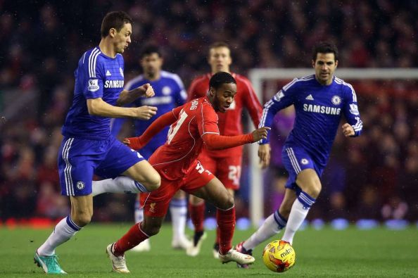 Sterling turns Nemanja Matic and drives at the Chelsea defence in   the League Cup
