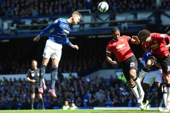 John Stones rises highest to put Evertone 1-0 up against Manchester United
