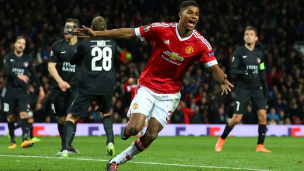Rashford celebrates scoring on his Manchester United debut against FC Midtjylland