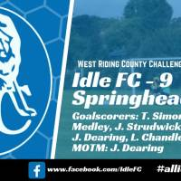 Match report: Idle FC 9 - 0 Springhead AFC Reserves. Idle hit 9 as they progress to the County Cup 5th Round!